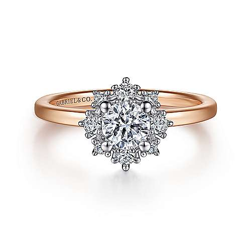 Unique 14K White-Rose Gold Halo Diamond Engagement Ring