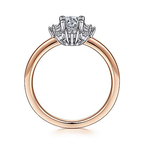 Unique 14K White-Rose Gold Halo Engagement Ring