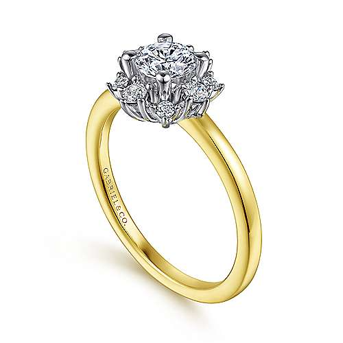 Unique 14K White-Yellow Gold Halo Engagement Ring