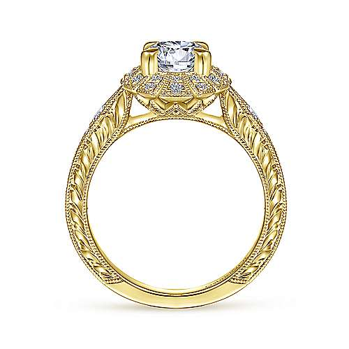 Unique 14K Yellow Gold Art Deco Halo Engagement Ring