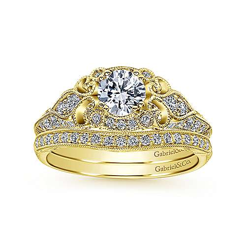 Unique 14K Yellow Gold Vintage Halo Engagement Ring