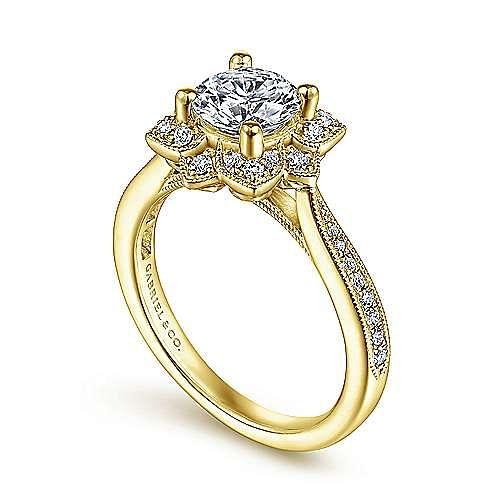 Unique 14K Yellow Gold Vintage Halo Engagement Ring