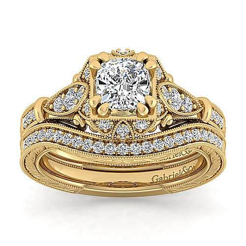 Unique 14K Yellow Gold Vintage Inspired Cushion Cut Halo Diamond Engagement Ring