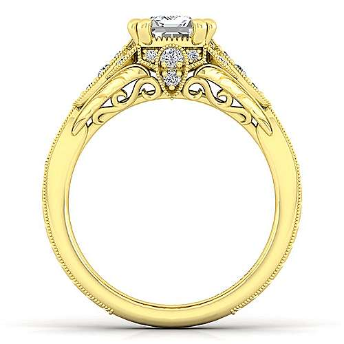 Unique 14K Yellow Gold Vintage Inspired Emerald Cut Diamond Halo Engagement Ring