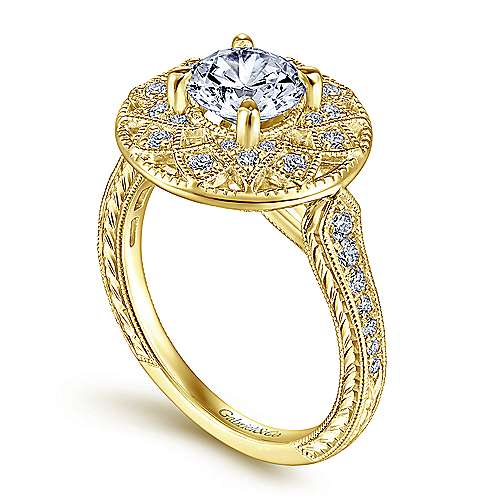 Unique 14K Yellow Gold Vintage Inspired Halo Engagement Ring