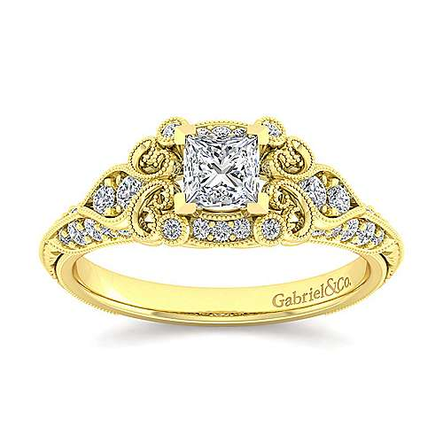 Unique 14K Yellow Gold Vintage Inspired Princess Cut Diamond Halo Engagement Ring