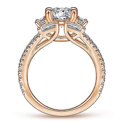 Unique 18K Rose Gold Art Deco Halo Diamond Engagement Ring