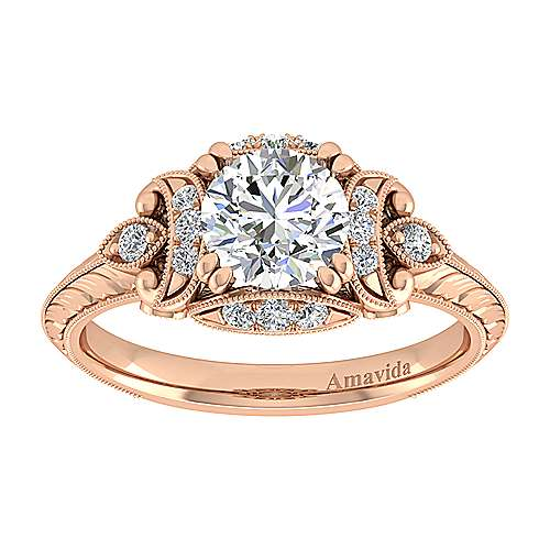 Unique 18K Rose Gold Vintage Inspired Diamond Halo Engagement Ring