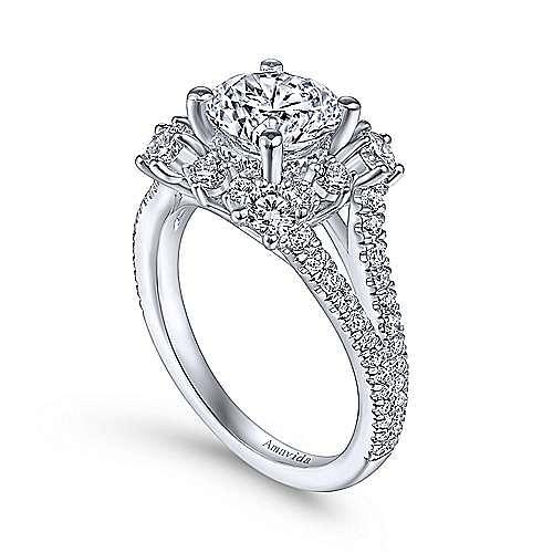 Unique 18K White Gold Art Deco Halo Diamond Engagement Ring