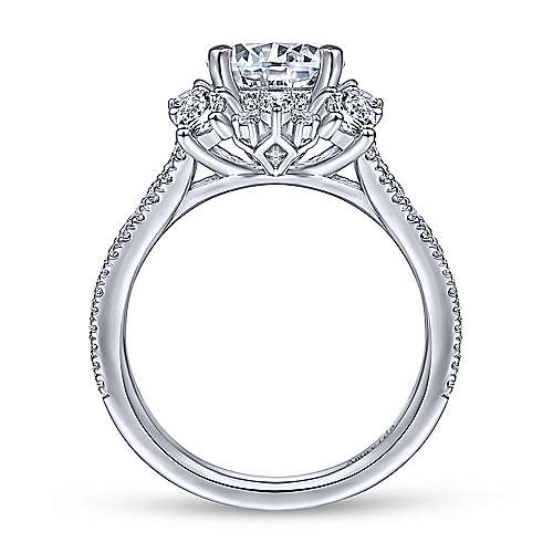 Unique 18K White Gold Art Deco Halo Engagement Ring