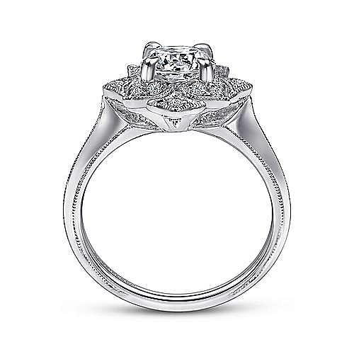 Unique 18K White Gold Diamond Halo Engagement Ring