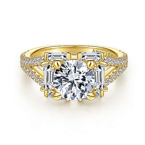Unique 18K Yellow Gold Art Deco Halo Diamond Engagement Ring