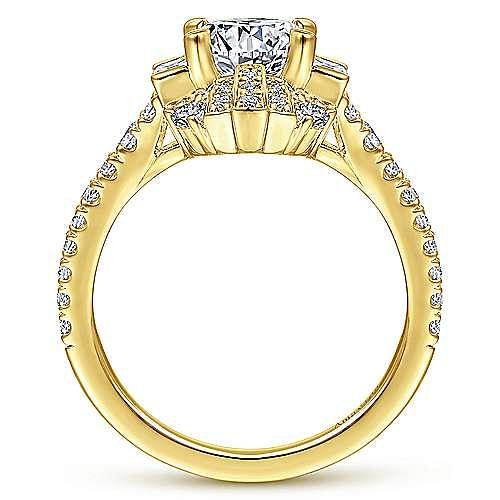 Unique 18K Yellow Gold Art Deco Halo Engagement Ring