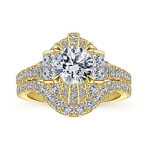 Unique 18K Yellow Gold Art Deco Halo Engagement Ring