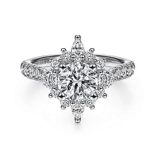 Unique Platinum Halo Engagement Ring