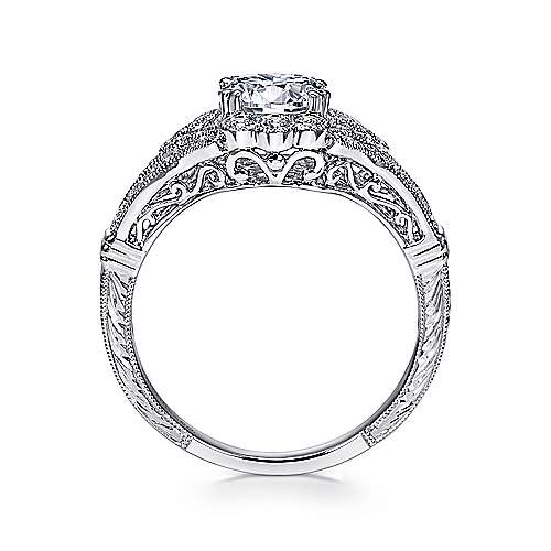 Unique Platinum Vintage Halo Engagement Ring