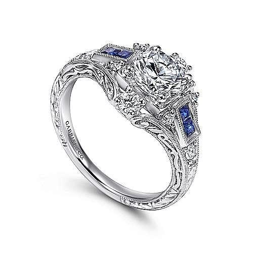 Unique Platinum Vintage Halo Sapphire and Diamond Engagement Ring