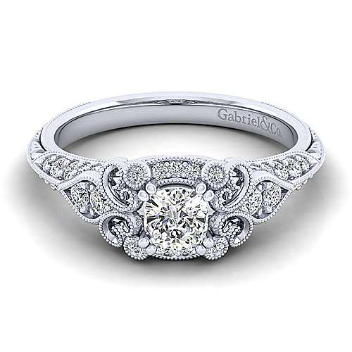 Unique Platinum Vintage Inspired Cushion Cut Diamond Halo Engagement Ring