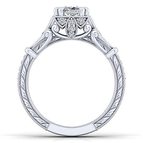 Unique Platinum Vintage Inspired Cushion Cut Halo Diamond Engagement Ring