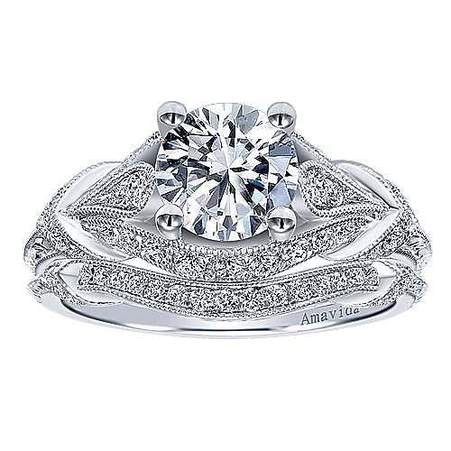 Unique Platinum Vintage Inspired Diamond Halo Engagement Ring