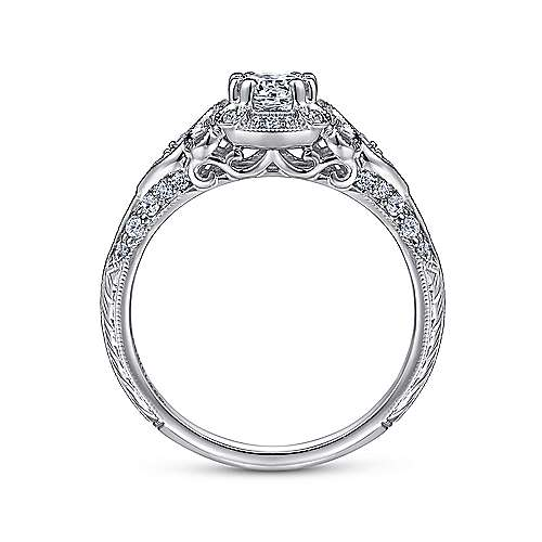 Unique Platinum Vintage Inspired Diamond Halo Engagement Ring