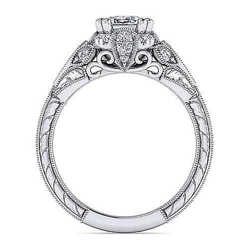 Unique Platinum Vintage Inspired Emerald Cut Diamond Halo Engagement Ring
