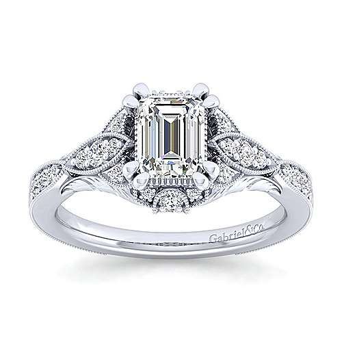 Unique Platinum Vintage Inspired Emerald Cut Diamond Halo Engagement Ring