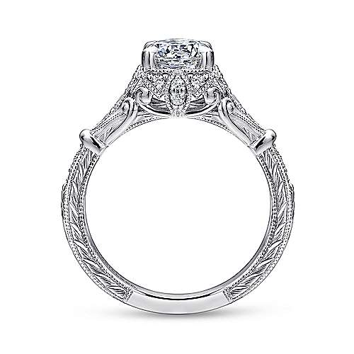 Unique Platinum Vintage Inspired Halo Diamond Engagement Ring
