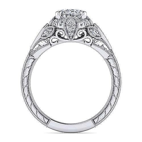 Unique Platinum Vintage Inspired Oval Halo Diamond Engagement Ring