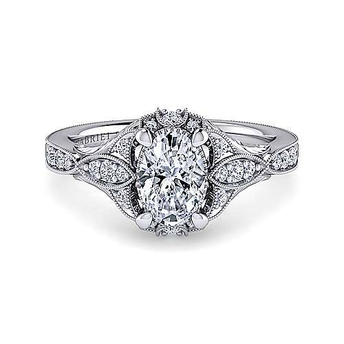 Unique Platinum Vintage Inspired Oval Halo Diamond Engagement Ring