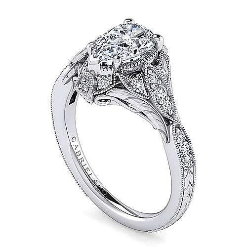 Unique Platinum Vintage Inspired Pear Shape Diamond Halo Engagement Ring