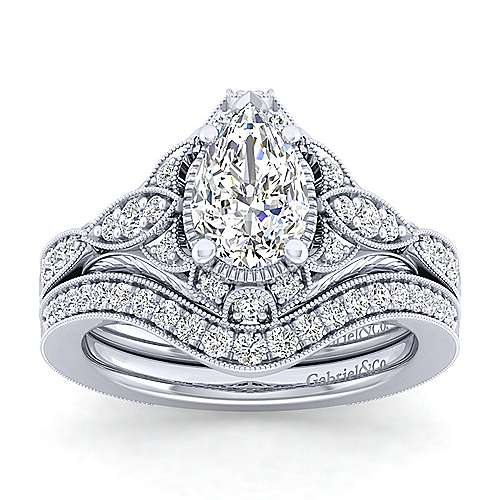 Unique Platinum Vintage Inspired Pear Shape Diamond Halo Engagement Ring