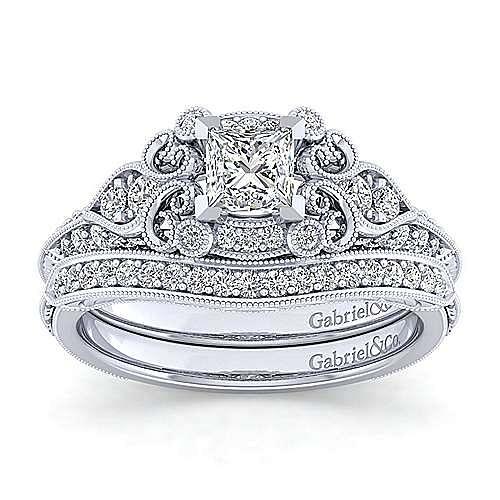 Unique Platinum Vintage Inspired Princess Cut Diamond Halo Engagement Ring