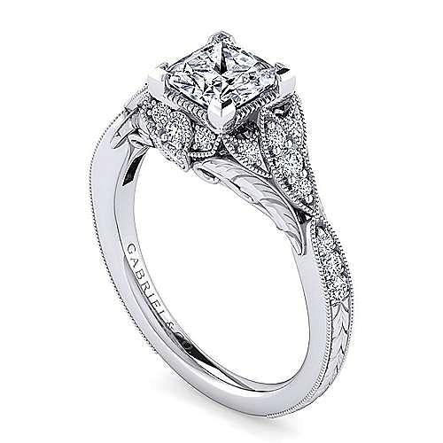 Unique Platinum Vintage Inspired Princess Cut Halo Diamond Engagement Ring