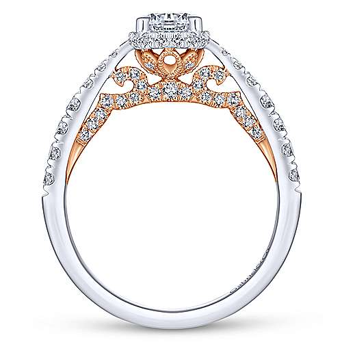 Uva 14k White And Rose Gold Round Straight Engagement Ring angle 2