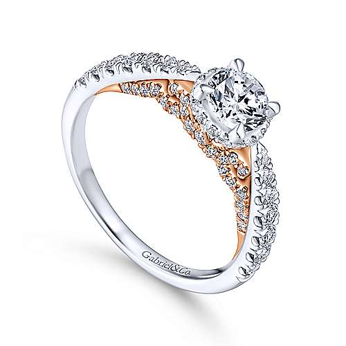 Uva 14k White And Rose Gold Round Straight Engagement Ring angle 3