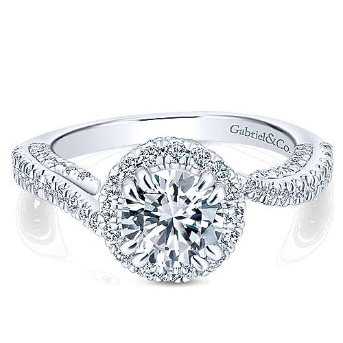 Gabriel - Valencia 14k White Gold Round Halo Engagement Ring