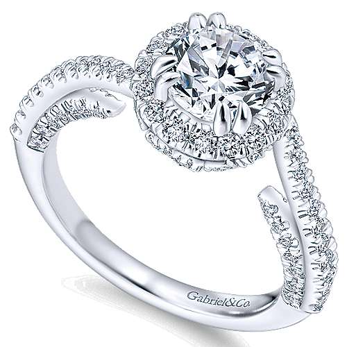 Valencia 14k White Gold Round Halo Engagement Ring angle 3