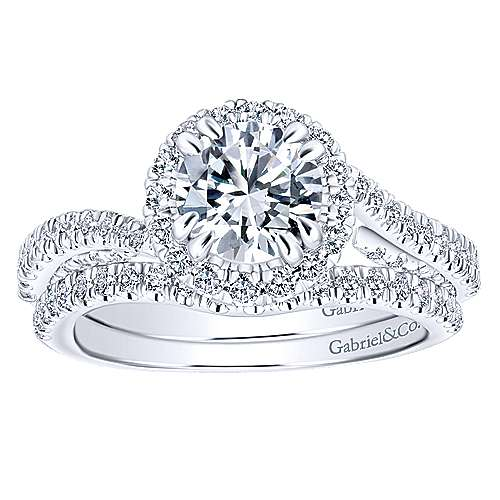 Valencia 14k White Gold Round Halo Engagement Ring angle 4