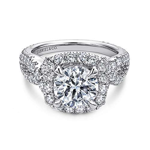 Gabriel - Valeriana 14k White Gold Round Halo Engagement Ring