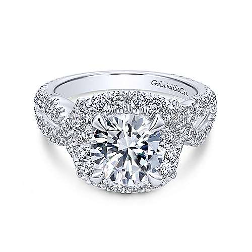 Valeriana 18k White Gold Round Halo Engagement Ring angle 1