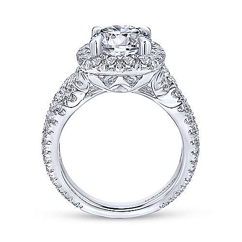 Valeriana 18k White Gold Round Halo Engagement Ring angle 2