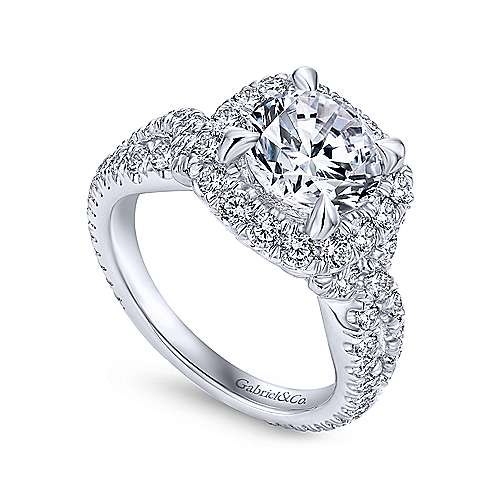 Valeriana 18k White Gold Round Halo Engagement Ring angle 3