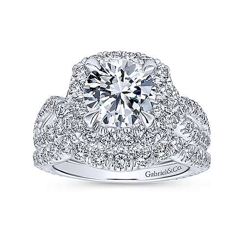 Valeriana 18k White Gold Round Halo Engagement Ring angle 4