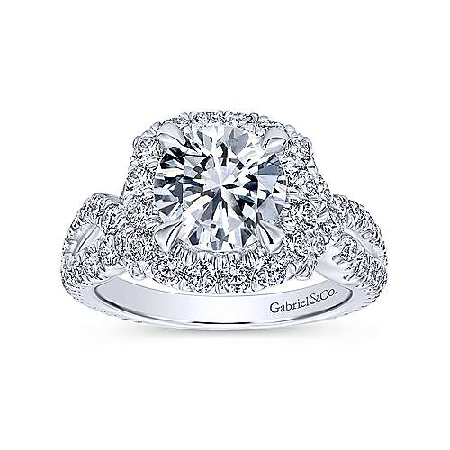 Valeriana 18k White Gold Round Halo Engagement Ring angle 5