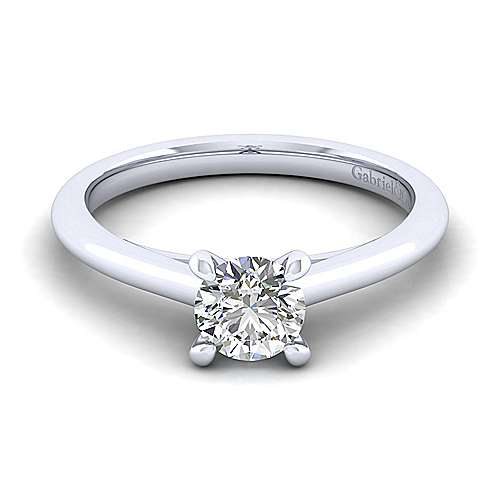 Gabriel - Valerie 14k White Gold Round Solitaire Engagement Ring