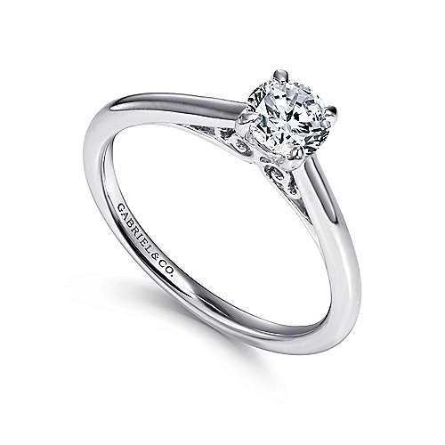 Valerie 14k White Gold Round Solitaire Engagement Ring angle 3