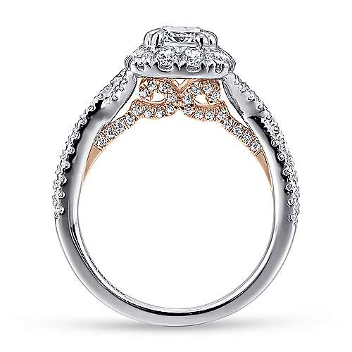 Vanessa 14k White And Rose Gold Cushion Cut Halo Engagement Ring angle 2