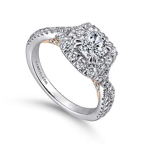 Vanessa 14k White And Rose Gold Cushion Cut Halo Engagement Ring angle 3