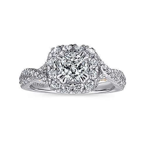 Vanessa 14k White And Rose Gold Cushion Cut Halo Engagement Ring angle 5